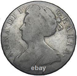 1707 E Crown (edinburgh Mint) Anne British Silver Coin