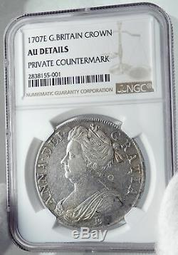 1707 Grande-bretagne Uk Engalnd Queen Anne Silver Crown English Monnaie Ngc I81740