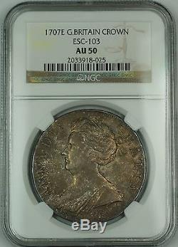 1707e Grande-bretagne Silver Crown Coin Esc-103 Anne Ngc Au-50 Akrï¾