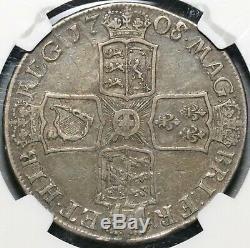 1708/7-e Ngc Vf 30 Anne Couronne Grande-bretagne Pièce D'argent Pop 1/0 (17021105cz)