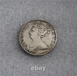 1708 Grande-bretagne Royaume-uni Reine Anne Antique Silver Half Crown Septimo Vf/xf Km #518