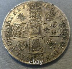 1716 Couronne Rare George I Pièce D'argent Majeur Mourir Fissure Grande Pièce D'argent Grande-bretagne