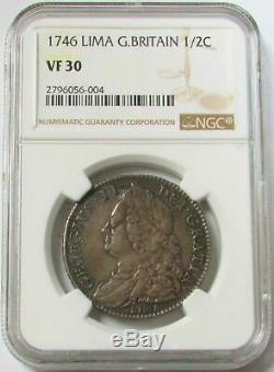 1746 Lima Argent Grande-bretagne Crown King George II Coin Ngc Très Fine 30
