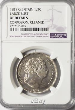 1817 Grande-bretagne 1/2 Argent Demi-couronne Km # 667 Xf Rare