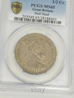 1817 Grande-bretagne Une Moitié 1/2 Cr Silver Crown Coin George III Pcgs Ms 65 Gem