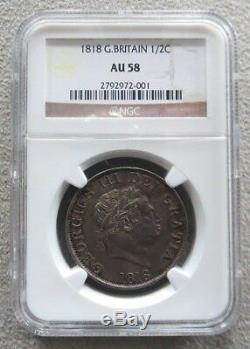 1818 Argent Grande-bretagne 1/2 Crown King George III Coin Ngc A Propos Unc 58