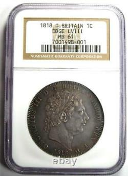 1818 Grande-bretagne Angleterre George III Crown Coin Certified Ngc Ms61 (bu Unc)