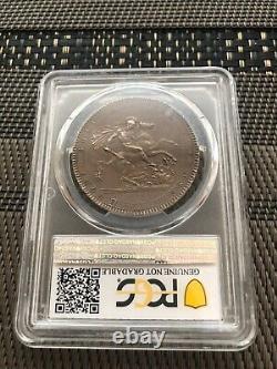 1818 Grande-bretagne Royaume-uni LVIII George III Crown Sliver Coin Pcgs Unc Nice Tonique