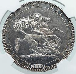 1818 Grande-bretagne Royaume-uni Roi George III Old Antique Silver Crown Coin Ngc I87202