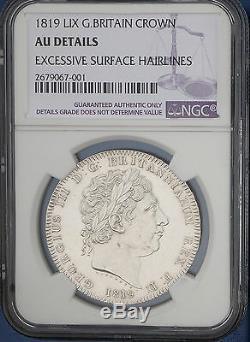 1819 LIX Grande-bretagne Silver Crown Km # 675 S. 3787 Ngc Au George III Pièce Rare