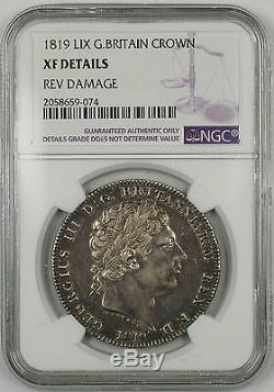 1819 LIX Grande-bretagne Silver Crown Pièce Ngc Xf Détails Dommages Arrière