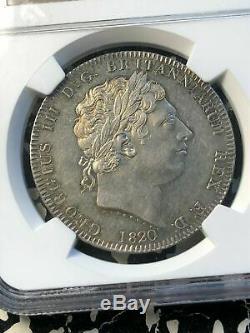1820 Grande-bretagne George III LX Bord Couronne Ngc Au58 Lot # G518 Argent! Belle Pièce
