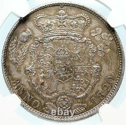 1820 Grande-bretagne Royaume-uni Roi George IV Silver Half Crown Cowin Ngc Au 58 I83987