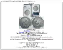 1820 Grande-bretagne Uk Roi George III Antique Couronne Argent Monnaie Ngc I81741