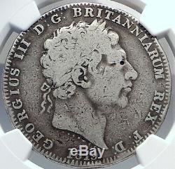 1820 Grande-bretagne Uk Roi George III Antique Couronne Argent Monnaie Ngc I81891