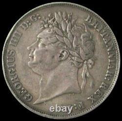 1821 Argent Secundo Grande-bretagne Bord Couronne Roi George IV Extra Fine Coin