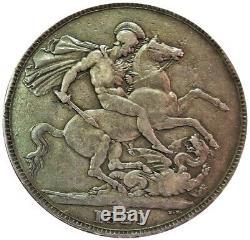 1821 Grand Argent Couronne Britannique Secundo Bord Roi George IV Coin Vf État