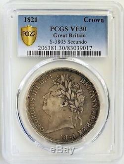 1821 Grande-bretagne Couronne Pcgs Vf30 Very Fine Argent Vintage Uk Classique Coin