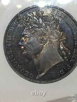 1821 Grande-bretagne George IV 1/2 Silver Half Crown Anacs Ms 63 Meilleure Date