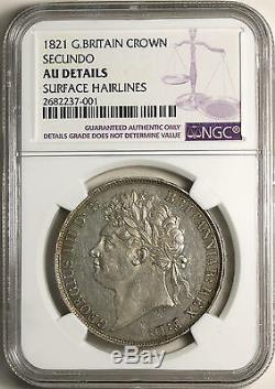 1821 Royaume-uni Grande-bretagne Couronne Km # 680.1 S. 3805 Secundo Ngc Au Détails Rare