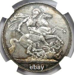 1822 Grande-bretagne Angleterre George IV Couronne Tertio Coin Certifié Ngc Au53