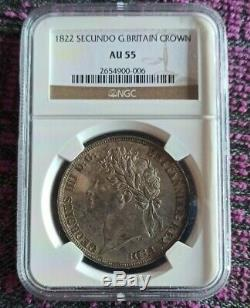 1822 Ngc Au55 Secundo Grande-bretagne Couronne Corona Km # 680,1 Georgius IIII