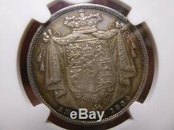 1834 Grande-bretagne Demi-couronne Argent Monnaie Ww Lettres Script Ngc Au55