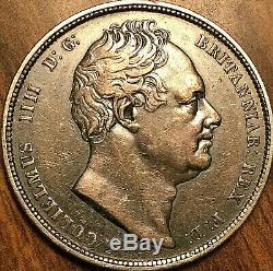 1834 Uk Grande-bretagne Argent Demi-couronne Coin Fantastique Tonifiée Exemple