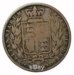 1841 Grande-bretagne Argent Demi Couronne 1/2 Reine Victoria Coin Km # 740 Date De Clé