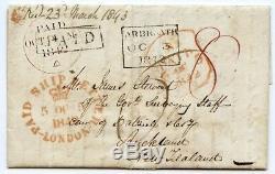 1842 Couverture Scarce De Arbroath En Nouvelle-zélande Avec London Crown Letter Navire H / S