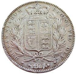 1844 Argent Grande-bretagne De La Couronne De La Reine Victoria Jeune Chef Coin Très Fin