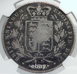1844 Grande-bretagne Royaume-uni Reine Victoria Antique Argent Grande Pièce De Couronne Ngc I81748