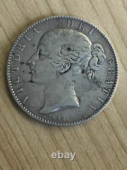 1844 Royaume-uni Grande-bretagne Silver Crown Coin Queen Victoria