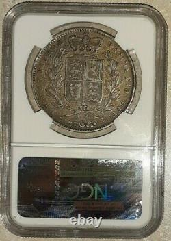 1845 Grande-bretagne Couronne D'argent Ngc Vf 35 Reine Victoria 3395046-007 Rare