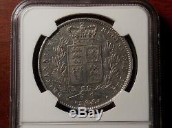 1845 Grande-bretagne Couronne Grosse Pièce De Monnaie D'argent Ngc Xf Reine Victoria Jeune Chef