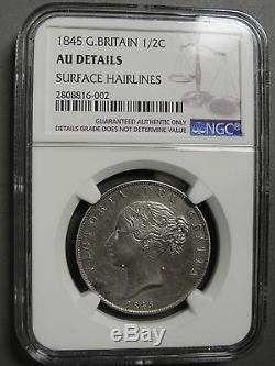 1845 Grande-bretagne Demi-couronne Ngc Au Détails Km # 740 Rare Ce Grade