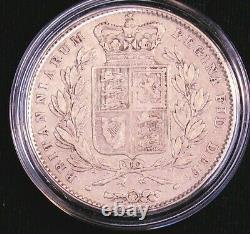 1845 Grande-bretagne Victoria. 925 Silver Crown Km-741 Bright Some Luster #cl4