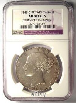 1845 Grande-bretagne Victoria Crown Coin Certifié Ngc Au Détails Rare Coin
