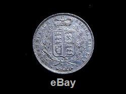 1845 Grande-bretagne Victoria Silver Crown Rare High Grade