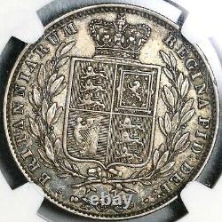 1845 Xf Ngc 40 Victoria 1/2 Couronne Grande-bretagne Pièce D'argent (20080901c)