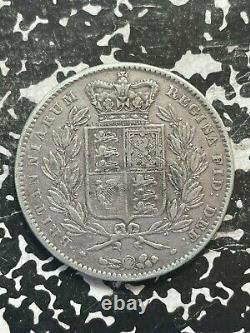 1847 Grande-bretagne 1 Crown Lot#jm2831 Grosse Pièce D'argent! Vieux Nettoyage