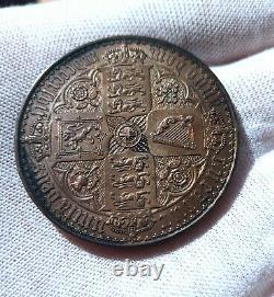 1847 Grande-bretagne Queen Victoria. Rare Preuve Silver Couronne Gothique Unc 28,7 Grammes