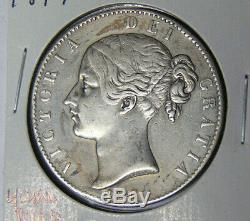 1847 Grande-bretagne Silver Crown Victoria Jeune Chef Vf / Xf Détails (41319)