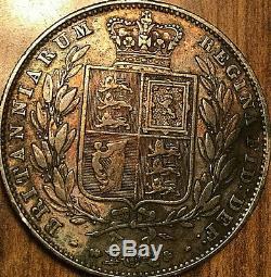 1850 Argent Grande-bretagne Victoria Demi Couronne Coin Et Nettoyé Avec Des Taches