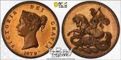 1879 Grande-bretagne Médaille (x # 83a) Fantasy 1 Crown Pcgs Pr63 Seulement 3 Finer (dr)