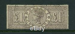 1884 Grande-bretagne £ 1 Brown-lilas Ecus Wmk Sg185 Fine Used Freepost Uk! Vgc