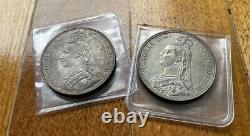 1887,1889 Grande-bretagne Queen Victoria Silver Crown Pièce Tonique Ua (2 Pièces)