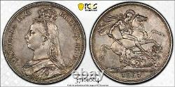 1887 Argent Crown Coin Pcgs Au55 Grande-bretagne Victoria S3921 Royaume-uni