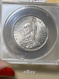 1887 Grande-bretagne 1 / 2c Half Crown Jubilee Ms 63 Argent Coin- Jolie