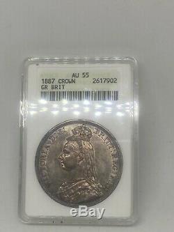 1887 Grande-bretagne Couronne Argent Monnaie Au-55 Magnifiques Toning! Ressemble Unc